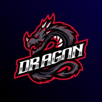 Logo de la mascotte du dragon esport gaming