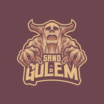 Logo de la mascotte du golem de sable pour l'équipe d'esport et de sport