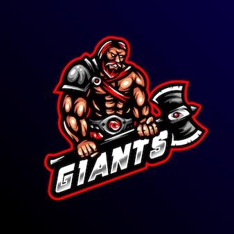 Logo de la mascotte du guerrier géant tueur esport gaming