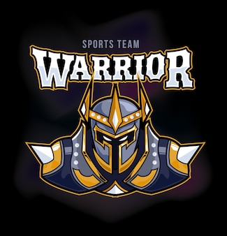 Logo mascotte du jeu warrior armour sports