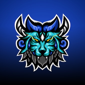 Le logo de la mascotte du lion monster gaming esport