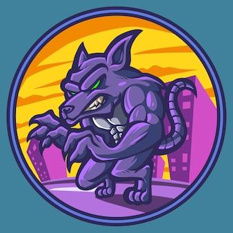 Le logo de la mascotte du rat