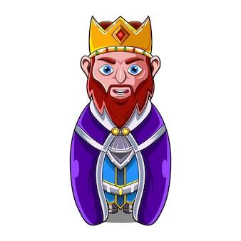 Le logo de la mascotte du roi chibi