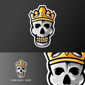 Logo de la mascotte du roi du sport du crâne ou du jeu esport