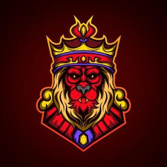 Logo de la mascotte du roi lion rouge