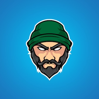 Logo de la mascotte du vieil homme et du sport
