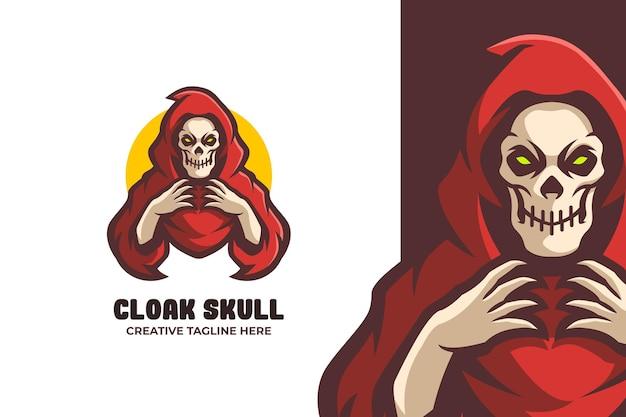 Logo de mascotte e-sport de crâne de cape rouge