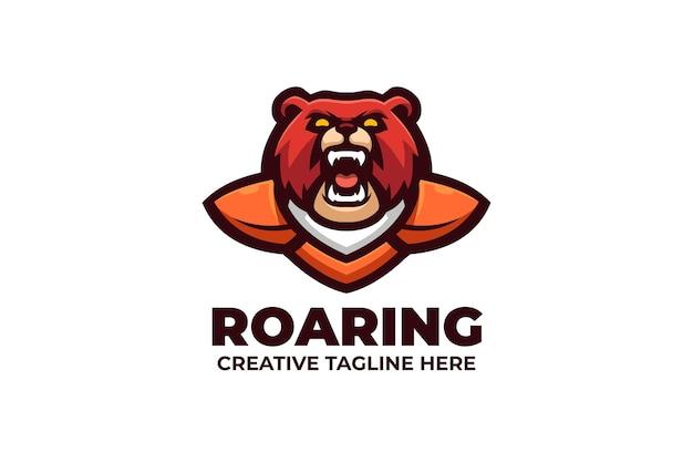 Logo de mascotte e-sport de l'ours sauvage rugissant