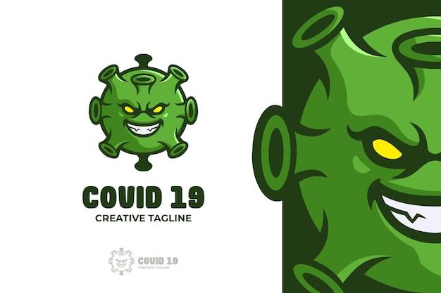 Logo de mascotte e-sport virus vert
