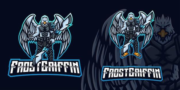 Logo de la mascotte eagle man gaming pour le streamer esports et la communauté