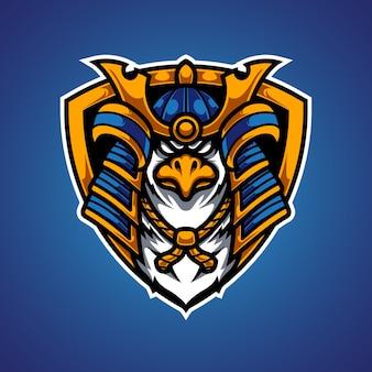 Logo de la mascotte eagle samurai e sport