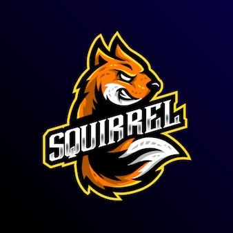 Logo de la mascotte de l'écureuil esport gaming