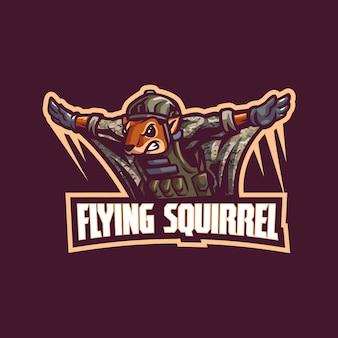 Logo mascotte écureuil volant pour esport et équipe de sport