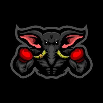 Logo de mascotte éléphant boxer e sports
