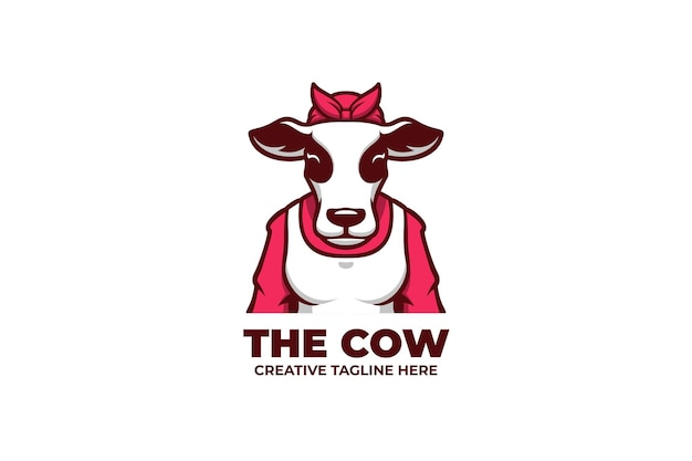 Logo de mascotte d'élevage laitier de bétail de vache