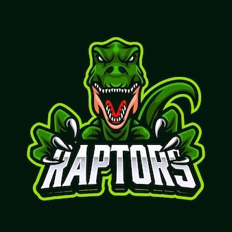 Logo de mascotte emblème de prédateur de raptor pour l'esport ou le sport