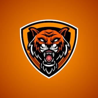 Logo de mascotte d'emblème de tigre