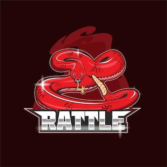 Logo de la mascotte de l'équipe de sports électroniques de hochet de serpent