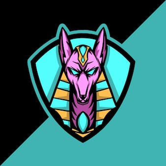 Logo de mascotte esport anubis egypte