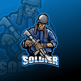 Logo mascotte esport armée zombie