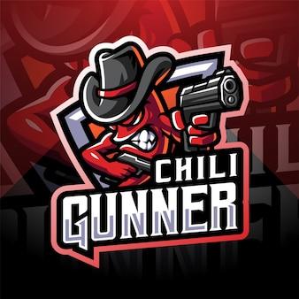 Logo de mascotte d'esport d'artilleur de chili