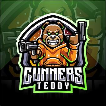 Logo de mascotte esport artilleur ours en peluche