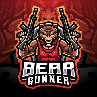 Logo de mascotte d'esport d'artilleur d'ours
