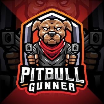 Logo de mascotte esport d'artilleur de pitbull