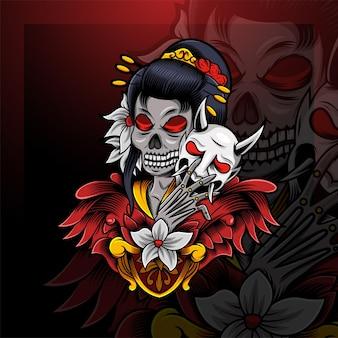 Logo de mascotte d'esport de crâne de geisha