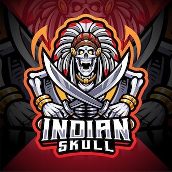 Logo de mascotte esport crâne indien