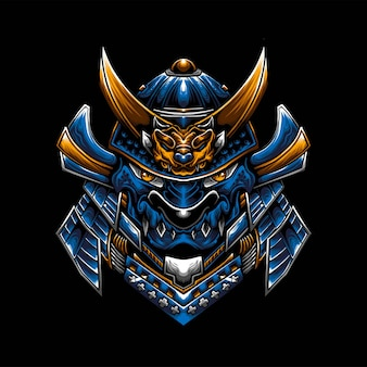 Logo de mascotte d'esport de dragon de samouraï