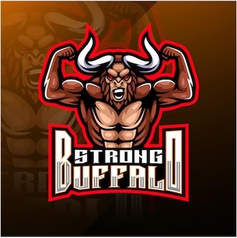 Logo mascotte esport du buffle roi