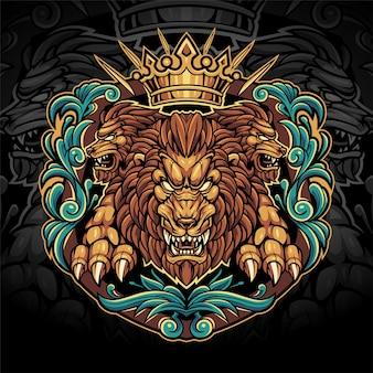 Logo de la mascotte d'esport du roi lions