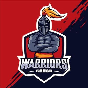 Logo de mascotte esport escouade guerrière