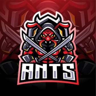 Logo de mascotte esport fourmis ninja