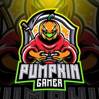 Logo de mascotte esport gamer citrouille