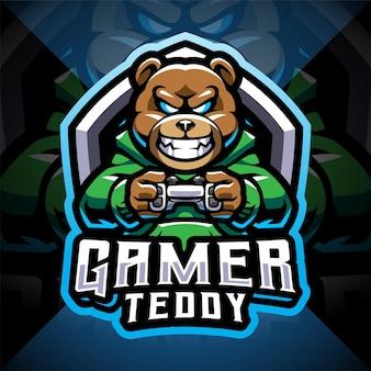 Logo de mascotte esport gamer ours en peluche
