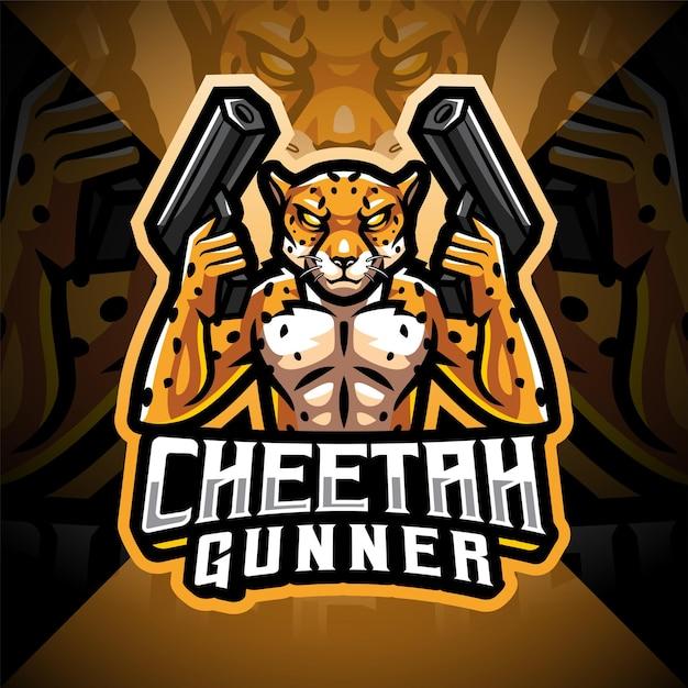Logo de mascotte esport guépard gunner