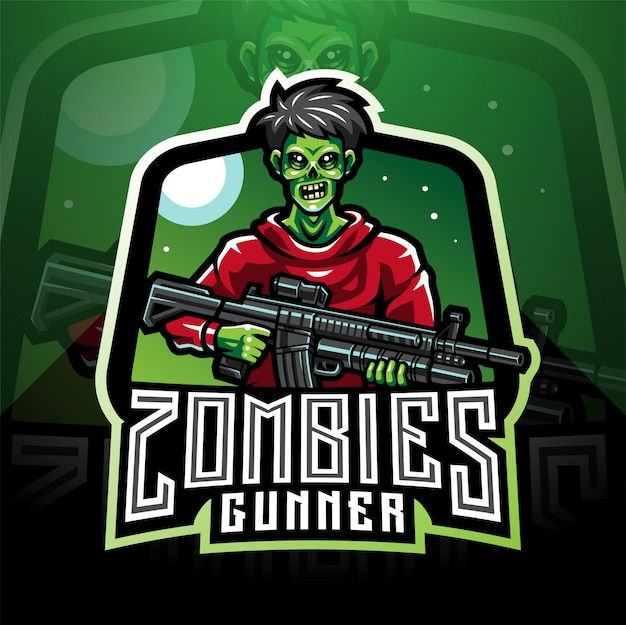 Logo de mascotte esport gunner zombie