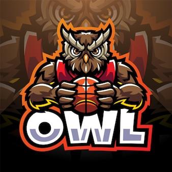Logo de mascotte esport hibou sport