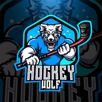 Logo de mascotte esport de hockey loup