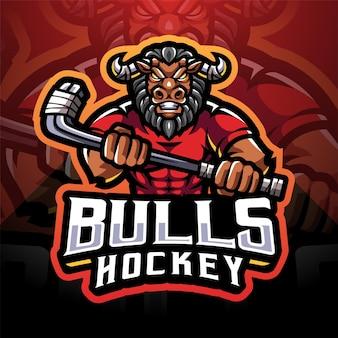 Logo de mascotte d'esport de hockey de taureaux