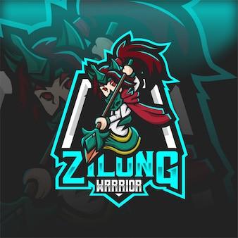 Logo mascotte esport humain du guerrier zilongg