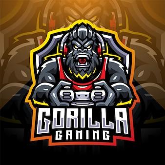 Logo de mascotte d'esport de jeu de gorille