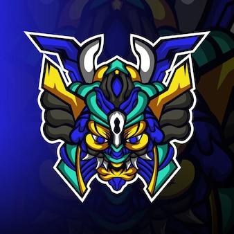 Logo de mascotte esport de jeu de monstres de ronin