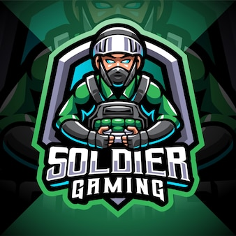 Logo de mascotte d'esport de jeu de soldat