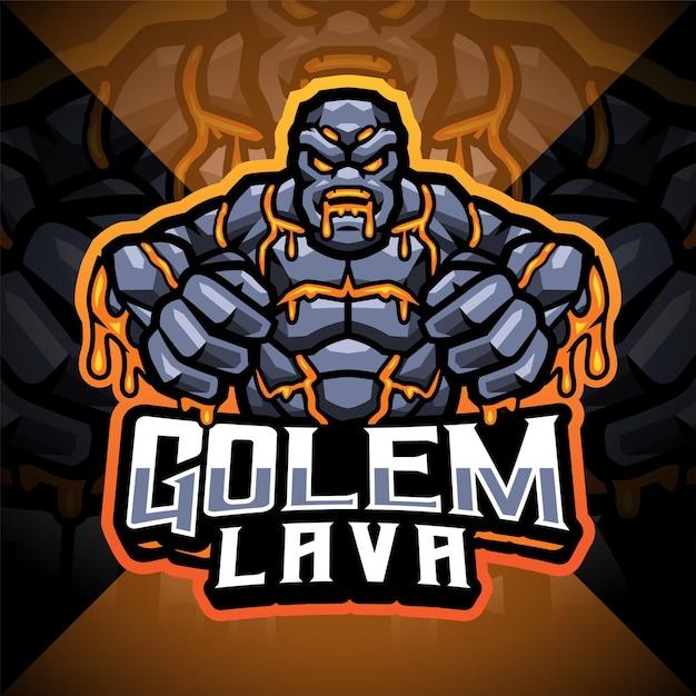 Logo de mascotte d'esport de lave de golems
