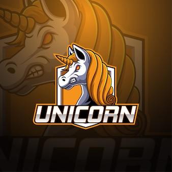 Logo mascotte esport licorne