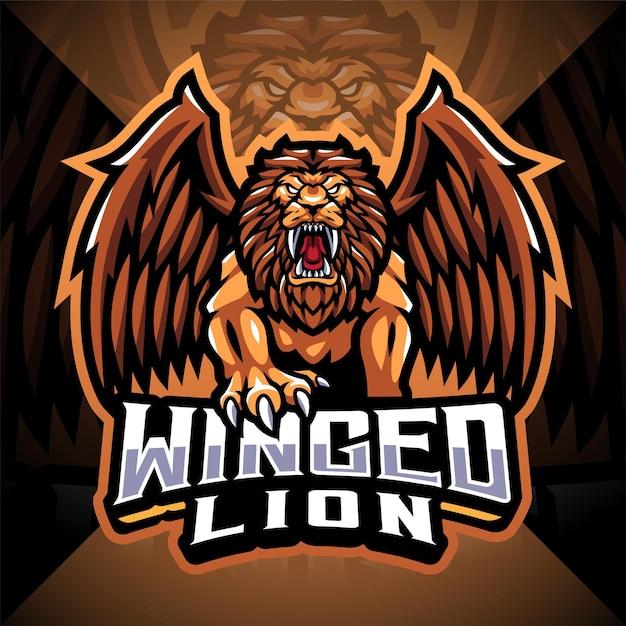 Logo mascotte esport lion ailé
