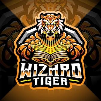 Logo de mascotte d'esport de magicien de tigre